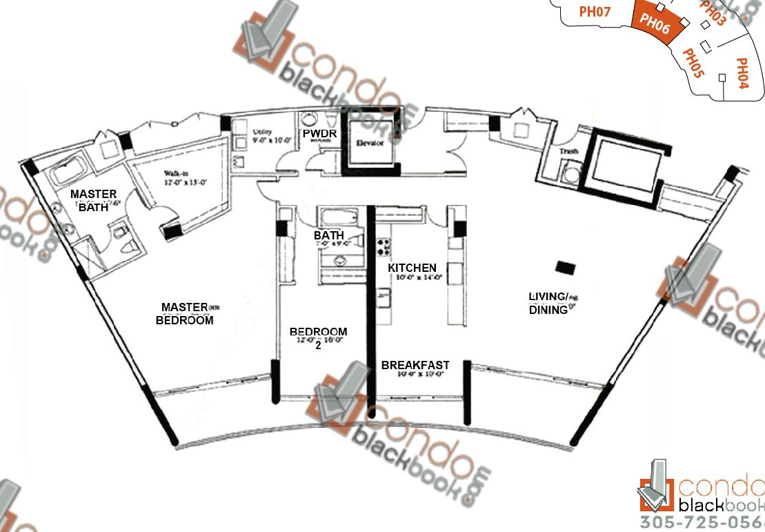 Floor plan for Majestic Tower Bal Harbour, model PH-06, line 06, 2/2.5 bedrooms, - sq ft