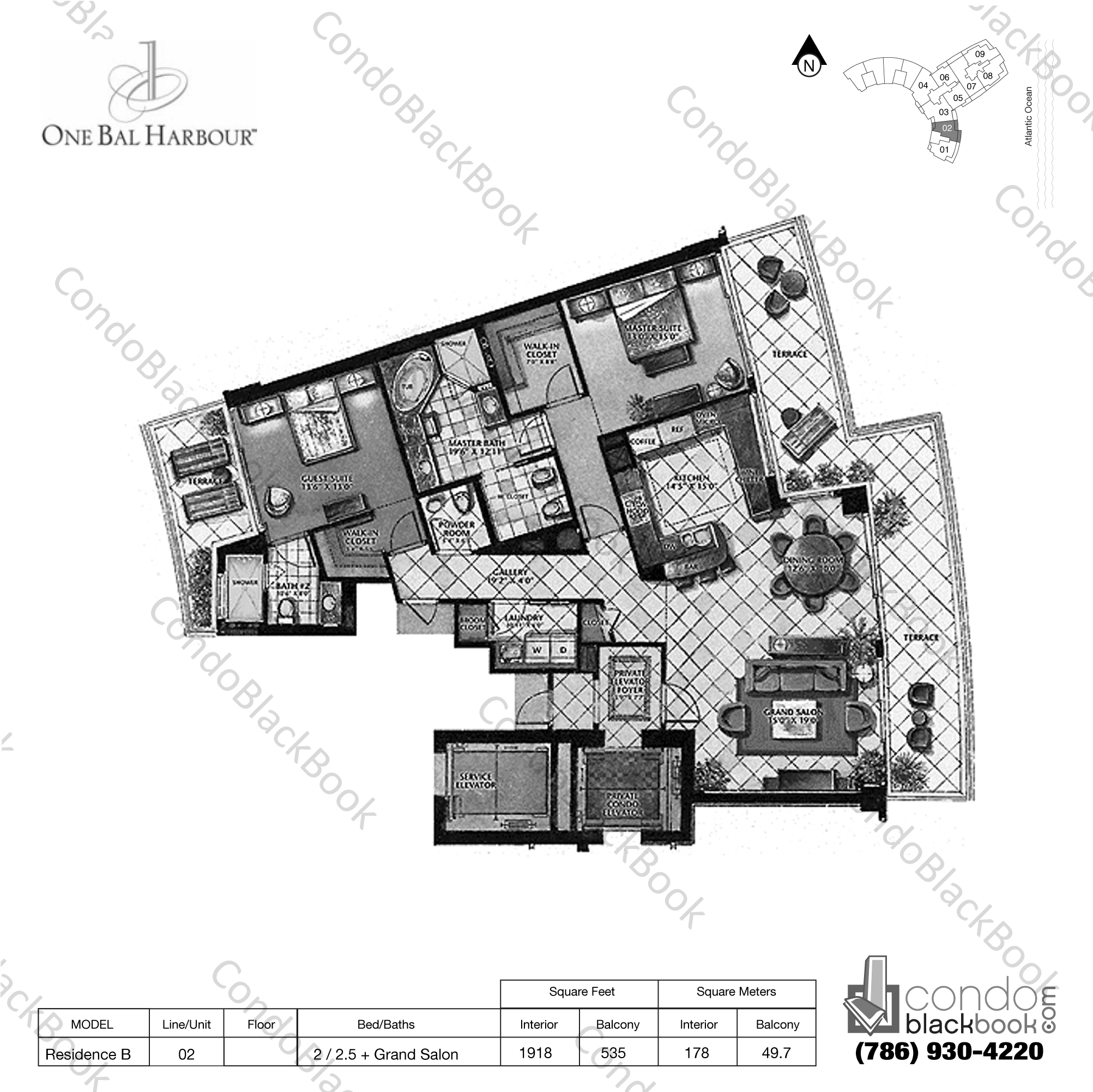 Floor plan for One Bal Harbour Bal Harbour, model Residence B, line 02, 2 / 2.5 + Grand Salon bedrooms, 1918 sq ft