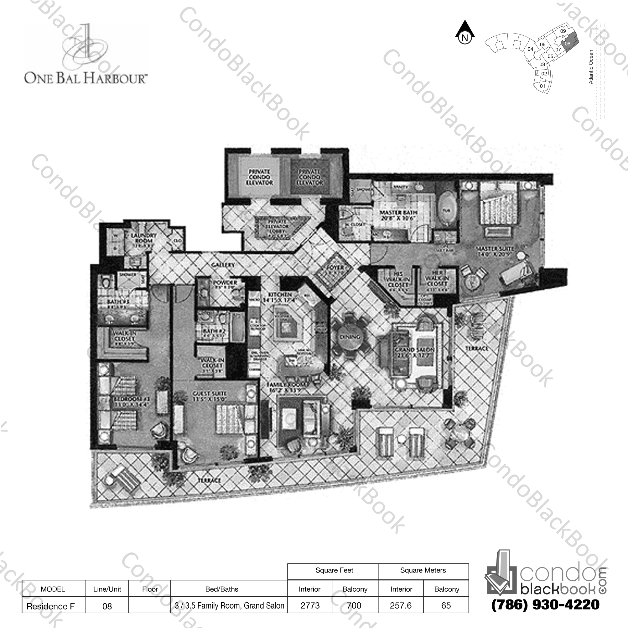 Floor plan for One Bal Harbour Bal Harbour, model Residence F, line 08, 3 / 3.5 Family Room, Grand Salon bedrooms, 2773 sq ft