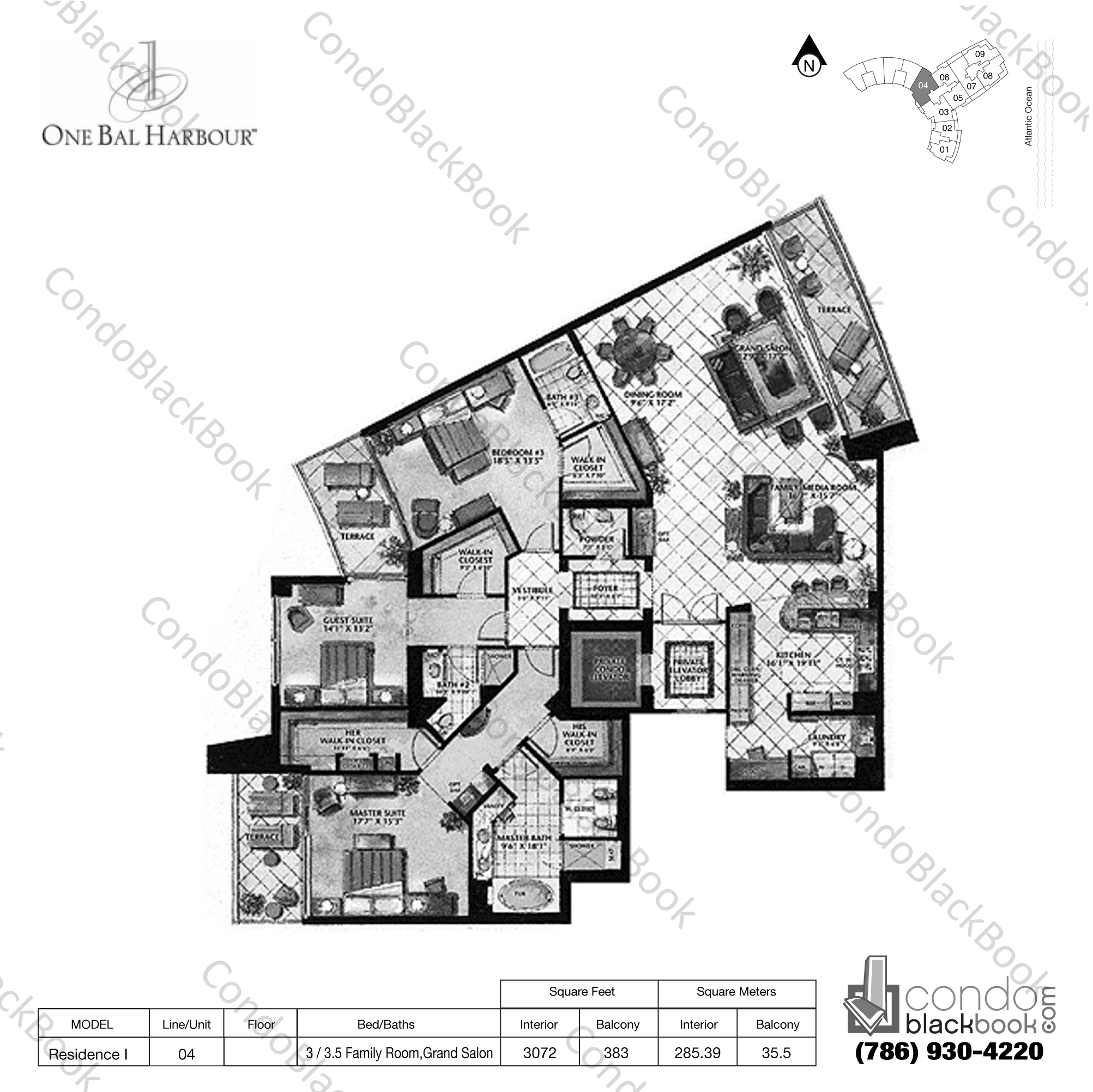 Floor plan for One Bal Harbour Bal Harbour, model Residence I, line 04, 3 / 3.5 Family Room, Grand Salon bedrooms, 3072 sq ft