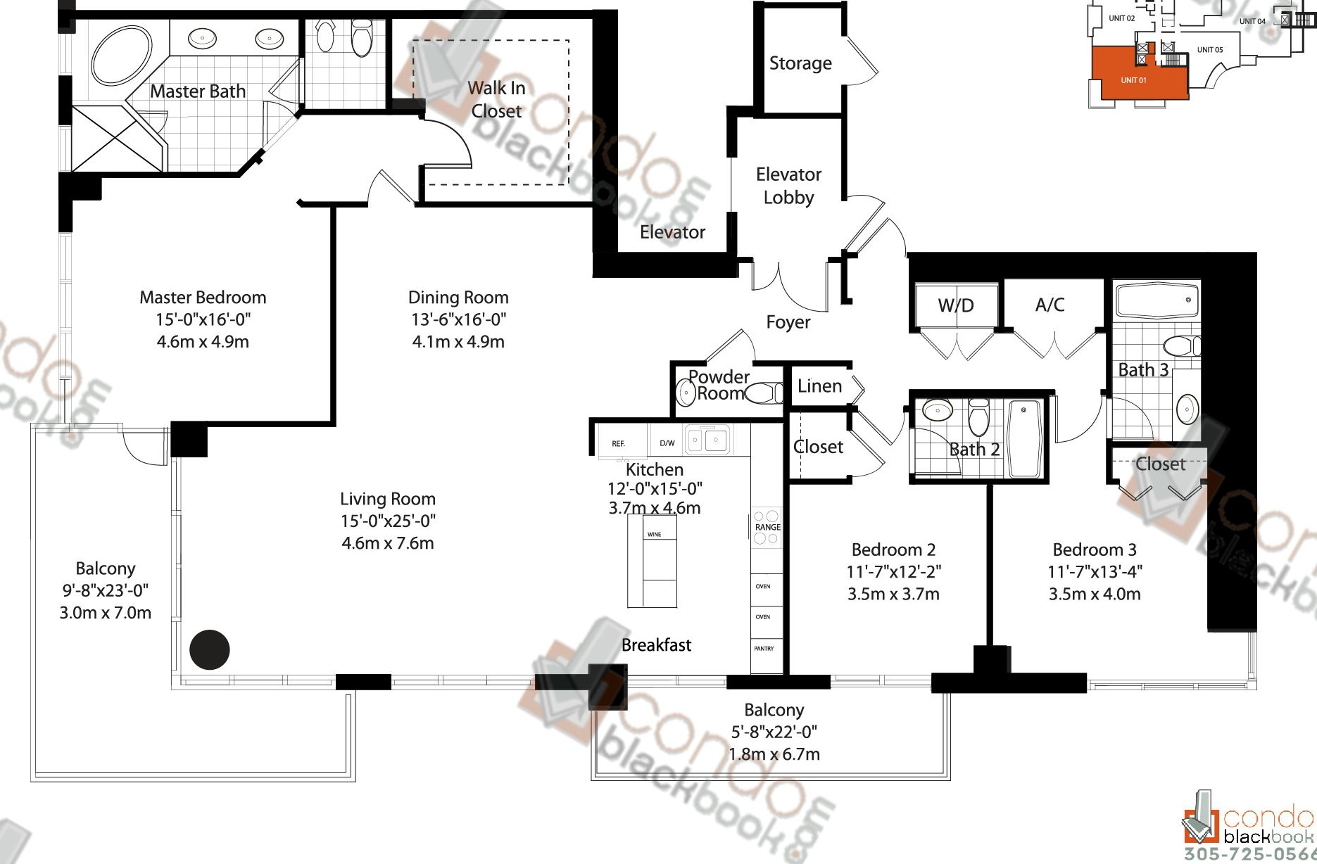 Floor plan for Asia Brickell Key Miami, model Unit 01, line 01, 1/1,5 bedrooms, 2,023 sq ft