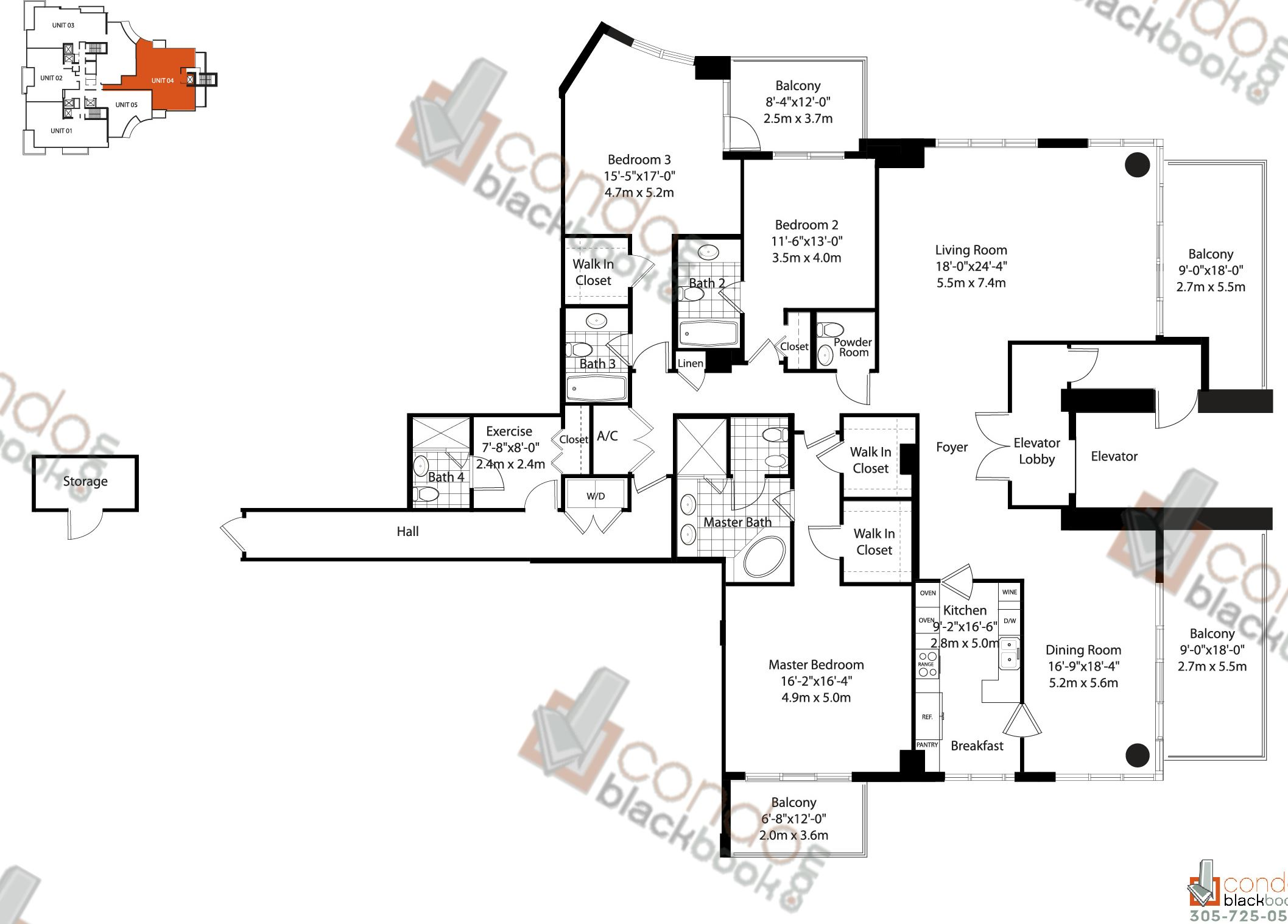 Floor plan for Asia Brickell Key Miami, model Unit 04, line 04, 3/4,5 bedrooms, 3,452 sq ft