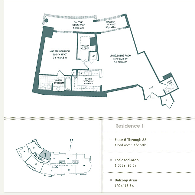 Floor plan for Carbonell Brickell Key Miami, model 1, line 1, 1/1.5 bedrooms, 1031 sq ft