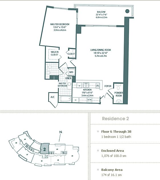 Floor plan for Carbonell Brickell Key Miami, model 2, line 2, 1/1.5 bedrooms, 1076 sq ft