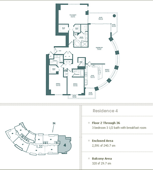Floor plan for Carbonell Brickell Key Miami, model 4, line 4, 3/2.5 bedrooms, 2591 sq ft