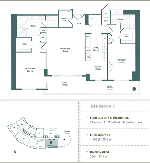 Floor plan for Carbonell Brickell Key Miami, model 5, line 5, 2/2.5 bedrooms, 1505 sq ft