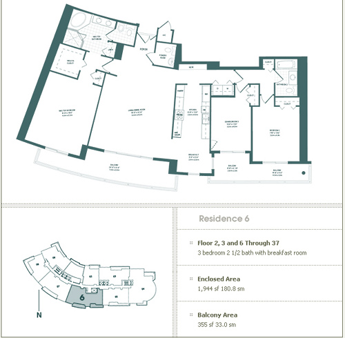 Floor plan for Carbonell Brickell Key Miami, model 6, line 6, 3/2.5 bedrooms, 1944 sq ft