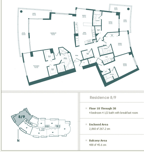 Floor plan for Carbonell Brickell Key Miami, model 8-9, line 08,09, 4/4.5 bedrooms, 2860 sq ft