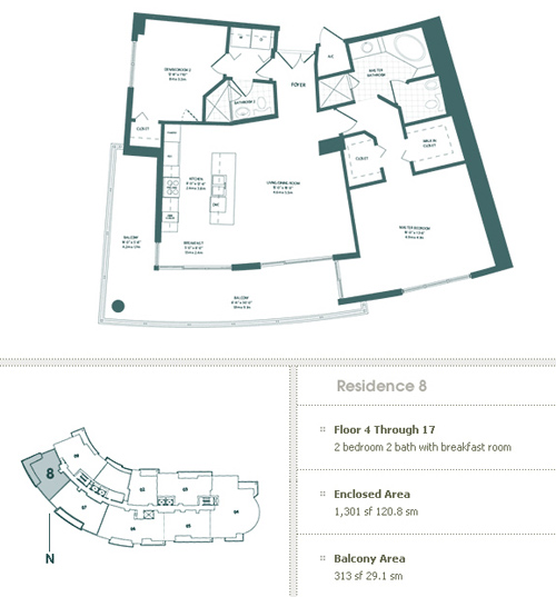 Floor plan for Carbonell Brickell Key Miami, model 8, line 8, 2/2 bedrooms, 1301 sq ft