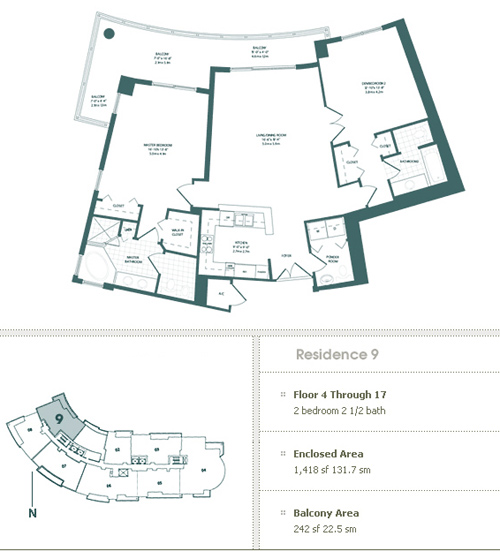 Floor plan for Carbonell Brickell Key Miami, model 9, line 09, 2/2.5 bedrooms, 1418 sq ft