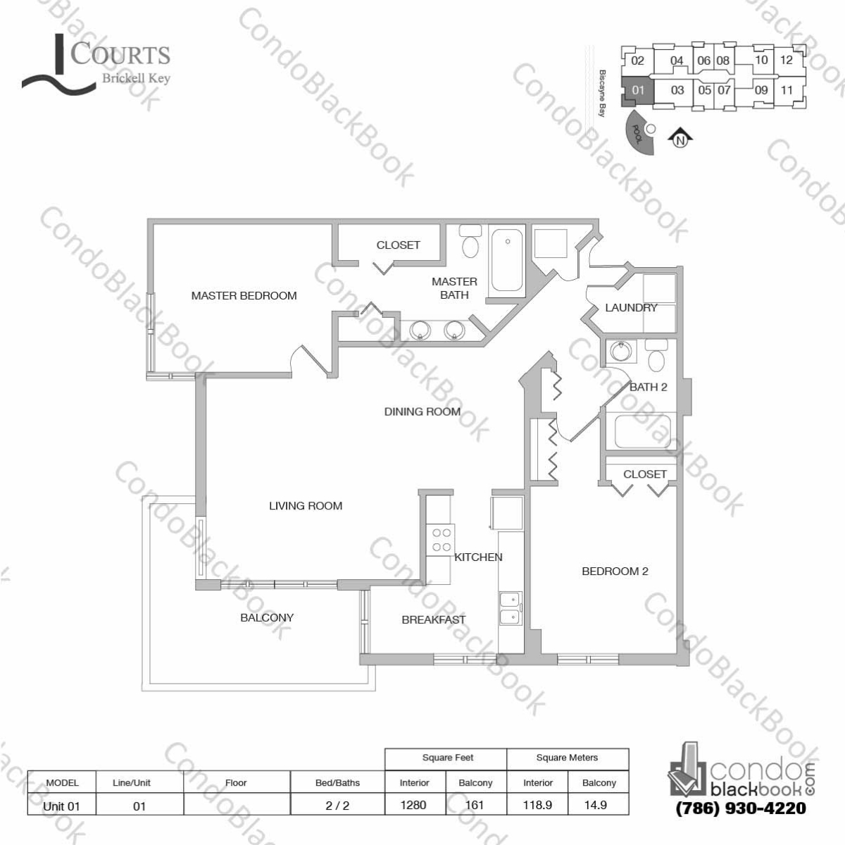 Floor plan for Courts Condo Brickell Key Brickell Key Miami, model Unit 01, line 01, 2 / 2 bedrooms, 1280 sq ft