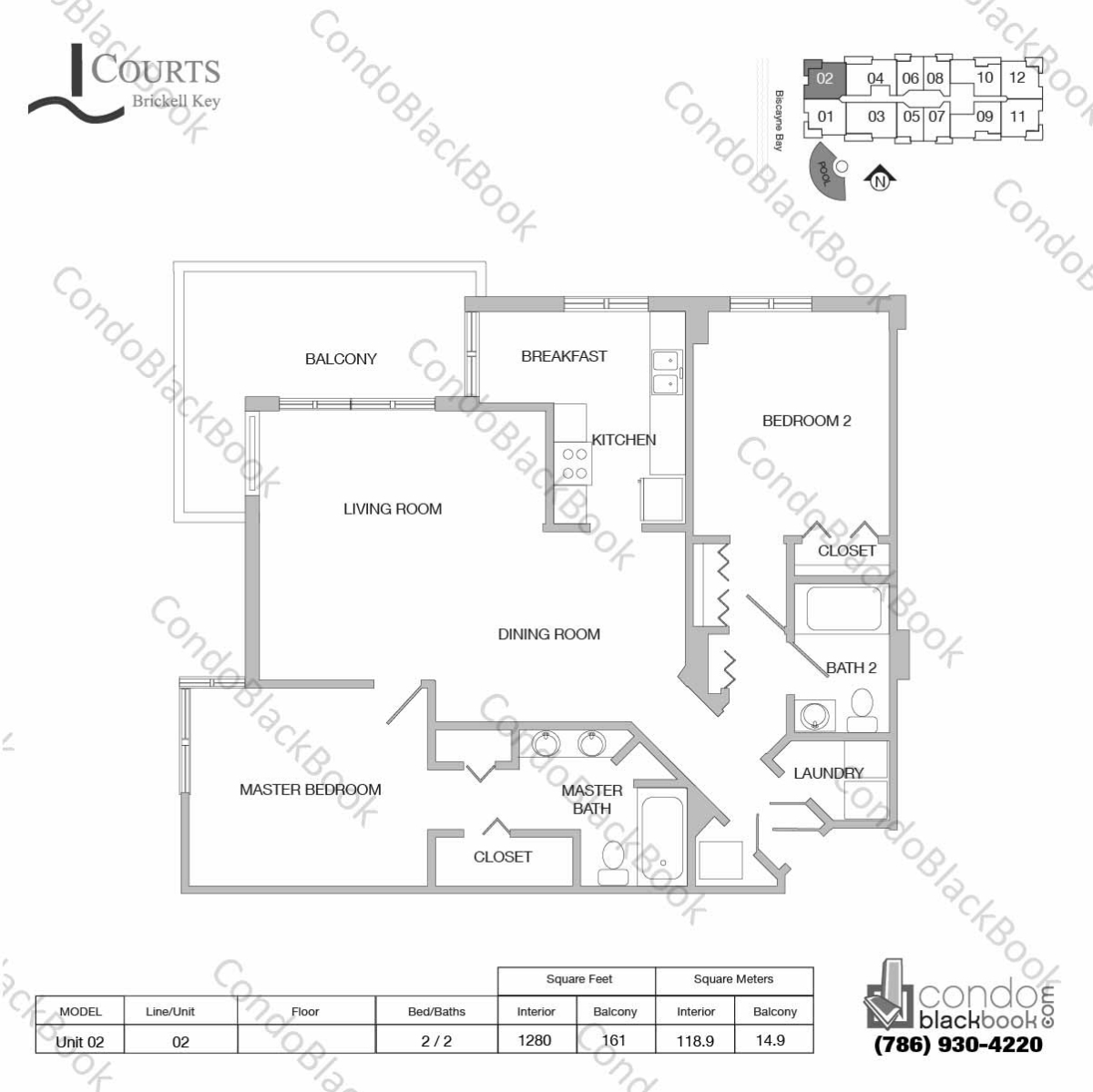 Floor plan for Courts Condo Brickell Key Brickell Key Miami, model Unit 02, line 02, 2 / 2 bedrooms, 1280 sq ft