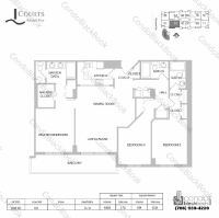Floor plan for Courts Condo Brickell Key Brickell Key Miami, model Unit 03, line 03, 3 / 3 bedrooms, 1659 sq ft