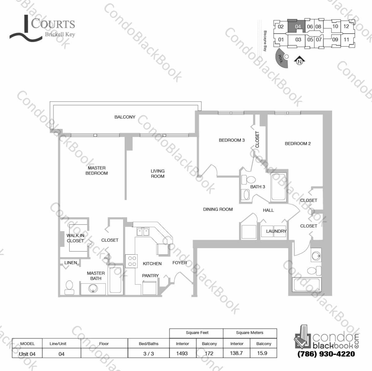 Floor plan for Courts Condo Brickell Key Brickell Key Miami, model Unit 04, line 04, 3 / 3 bedrooms, 1493 sq ft