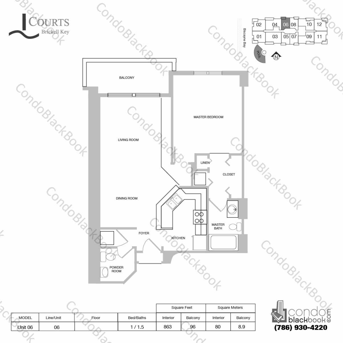 Floor plan for Courts Condo Brickell Key Brickell Key Miami, model Unit 06, line 06, 1 / 1.5 bedrooms, 863 sq ft