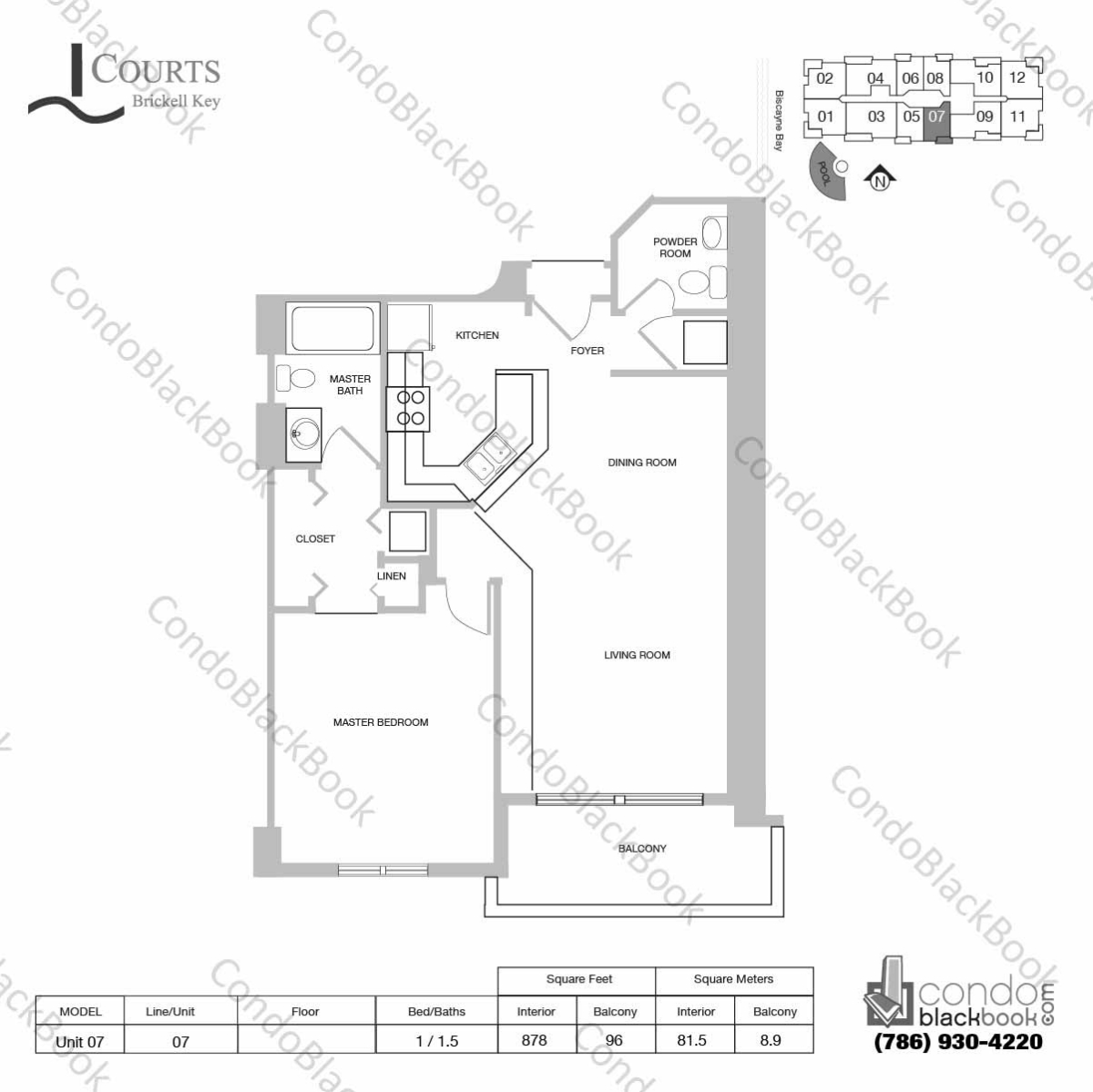 Floor plan for Courts Condo Brickell Key Brickell Key Miami, model Unit 07, line 07, 1 / 1.5 bedrooms, 878 sq ft