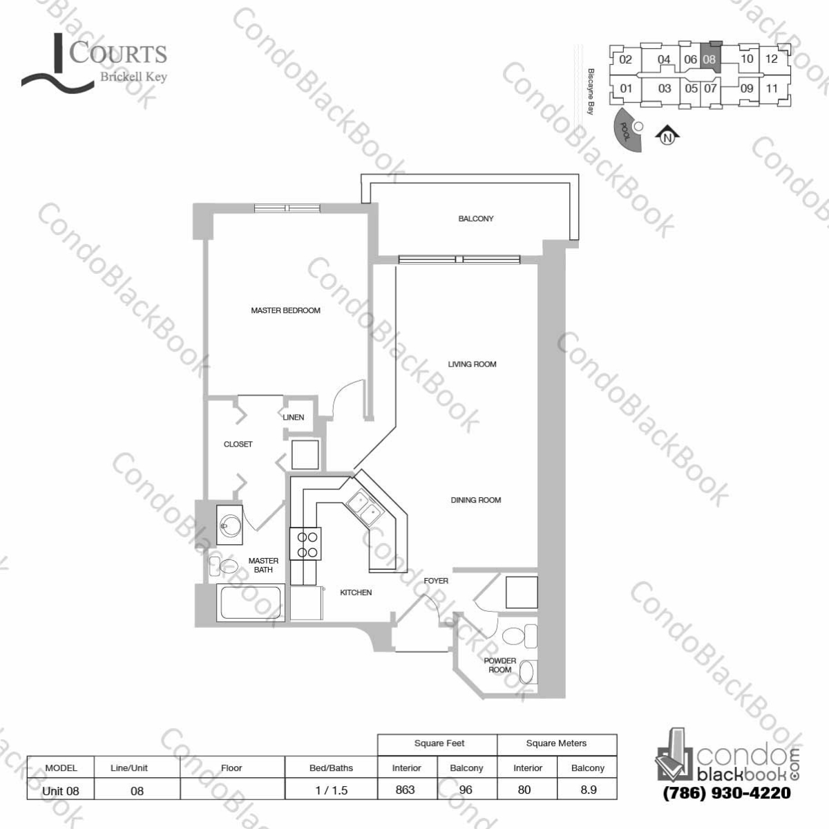 Floor plan for Courts Condo Brickell Key Brickell Key Miami, model Unit 08, line 08, 1 / 1.5 bedrooms, 863 sq ft