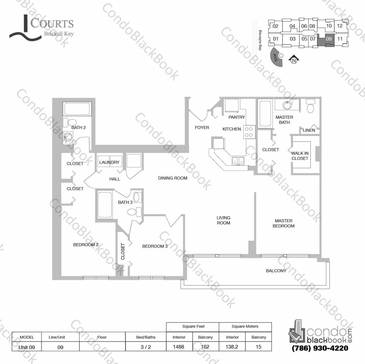 Floor plan for Courts Condo Brickell Key Brickell Key Miami, model Unit 09, line 09, 3 / 2 bedrooms, 1488 sq ft