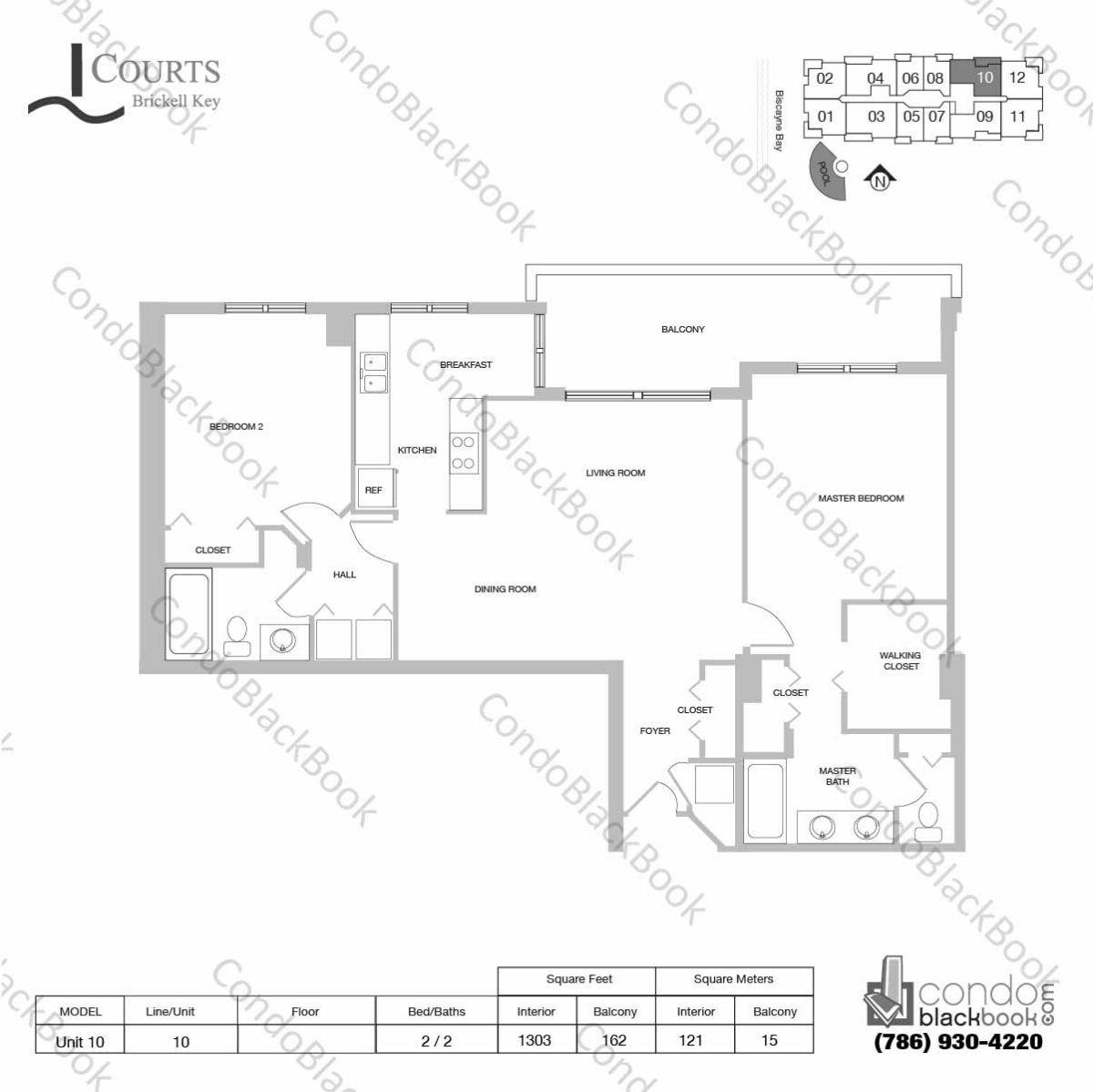 Floor plan for Courts Condo Brickell Key Brickell Key Miami, model Unit 10, line 10, 2 / 2 bedrooms, 1303 sq ft