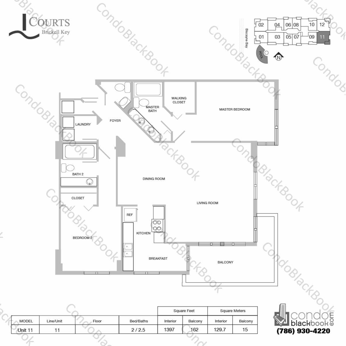 Floor plan for Courts Condo Brickell Key Brickell Key Miami, model Unit 11, line 11, 2 / 2.5 bedrooms, 1397 sq ft