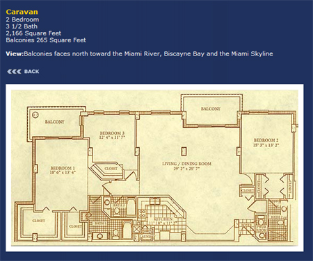 Floor plan for Courvoisier Courts Brickell Key Miami, model Caravan, 2/3.5 +Balcony bedrooms, 2166 sq ft