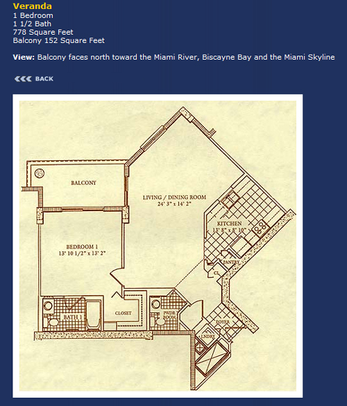 Floor plan for Courvoisier Courts Brickell Key Miami, model Veranda, line Line 07, 1/1.5 +Balcony bedrooms, 907 sq ft