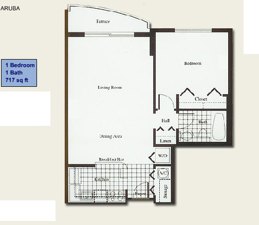 Floor plan for Isola Brickell Key Miami, model Aruba, line Lines 07,08, 1/1 bedrooms, 717 sq ft