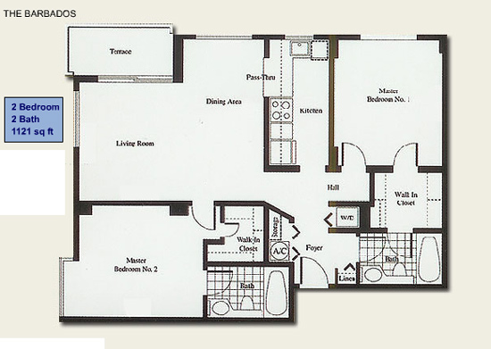 Floor plan for Isola Brickell Key Miami, model Barbados, line Lines 01,02,15,16, 2/2 bedrooms, 1121 sq ft