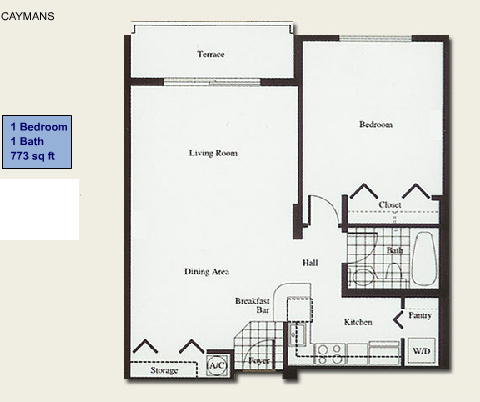 Floor plan for Isola Brickell Key Miami, model Caymans, line Line 05, 1/1 bedrooms, 773 sq ft