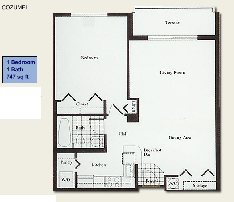 Floor plan for Isola Brickell Key Miami, model Cozumel, line Lines 11,12, 1/1 bedrooms, 747 sq ft