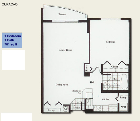 Floor plan for Isola Brickell Key Miami, model Curacao, line Lines 09, 10, 1/1 bedrooms, 781 sq ft