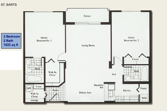 Floor plan for Isola Brickell Key Miami, model St.Barts, line Lines 03,04, 2/2 bedrooms, 1023 sq ft