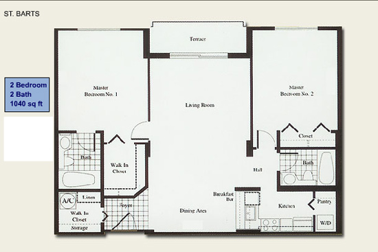 Floor plan for Isola Brickell Key Miami, model St.BartsII, line Lines 13,14, 2/2 bedrooms, 1040 sq ft