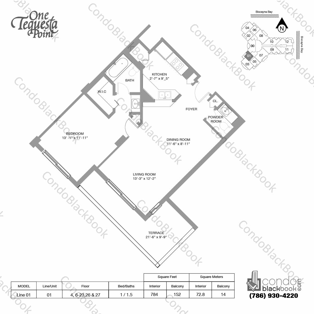 Floor plan for One Tequesta Point Brickell Key Miami, model Line 01, line 01, 1 / 1.5 bedrooms, 784 sq ft