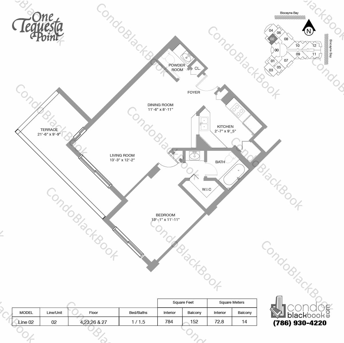 Floor plan for One Tequesta Point Brickell Key Miami, model Line 02, line 02, 1 / 1.5 bedrooms, 784 sq ft