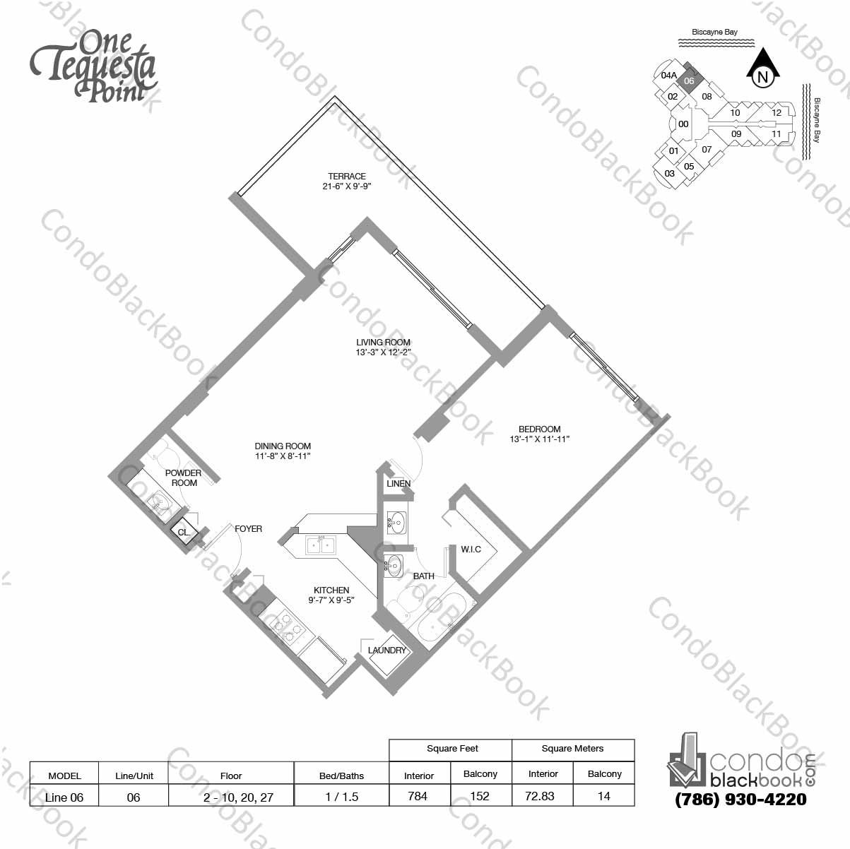 Floor plan for One Tequesta Point Brickell Key Miami, model Line 06, line 06,  1 /1.5 bedrooms, 784 sq ft