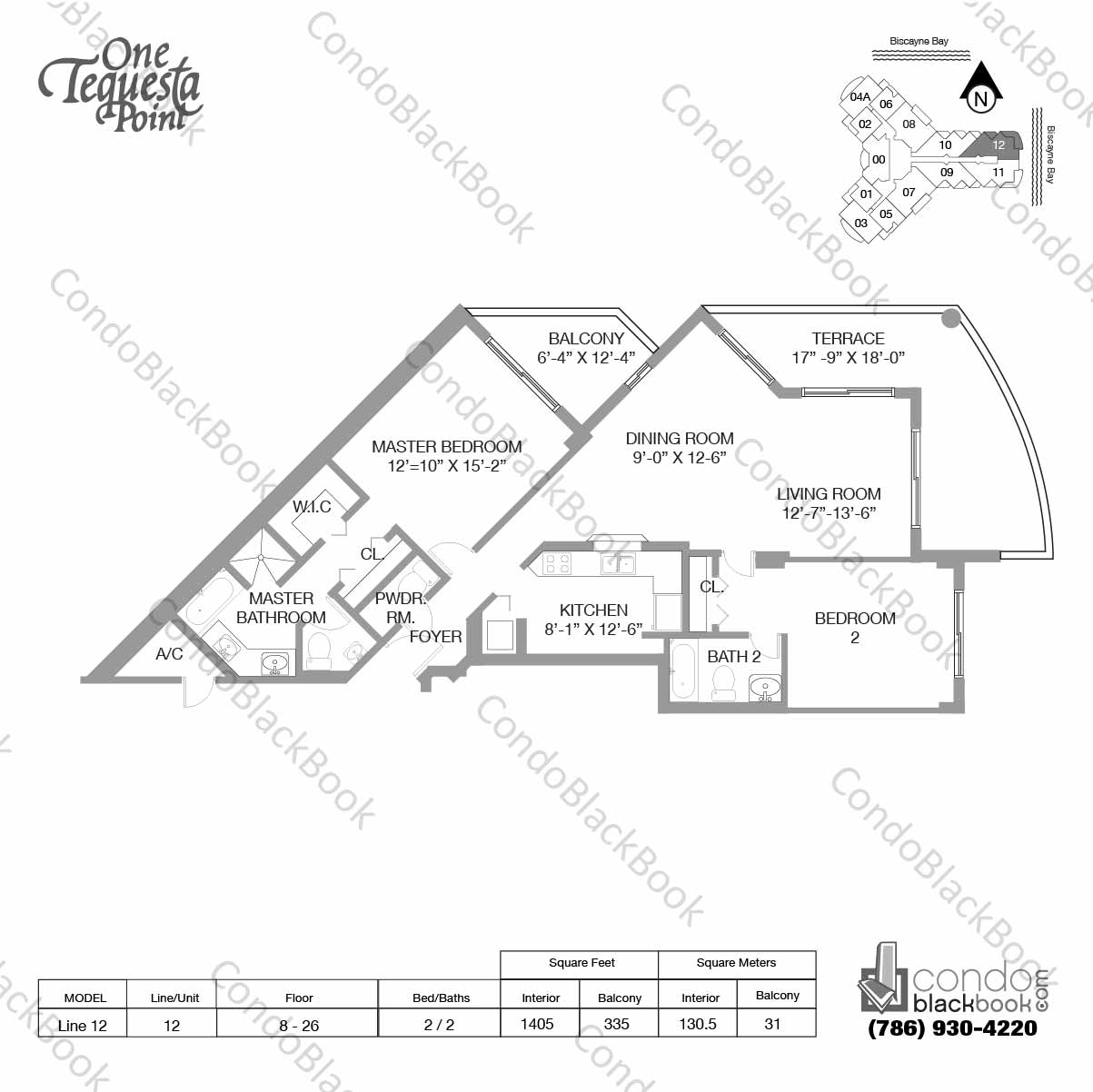 Floor plan for One Tequesta Point Brickell Key Miami, model Line 12, line 12,  2 / 2.5 bedrooms, 1405 sq ft