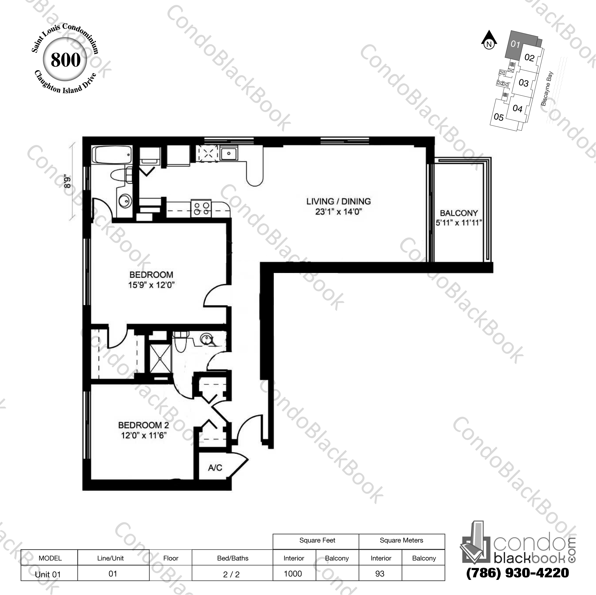 Floor plan for St Louis Condo Brickell Key Miami, model Unit 01, line 01, 2 / 2 bedrooms, 1000 sq ft