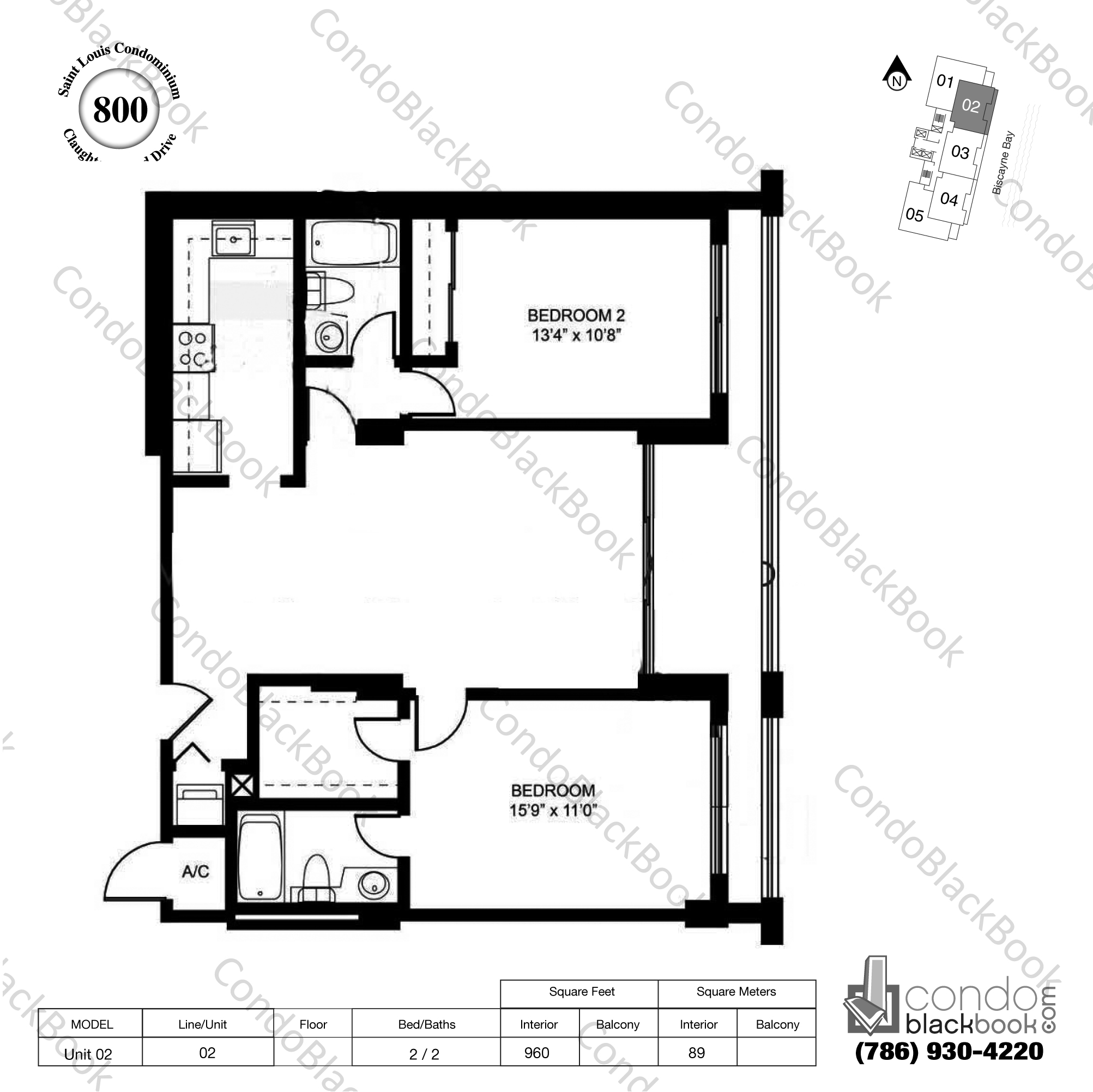 Floor plan for St Louis Condo Brickell Key Miami, model Unit 02, line 02, 2 / 2 bedrooms, 960 sq ft