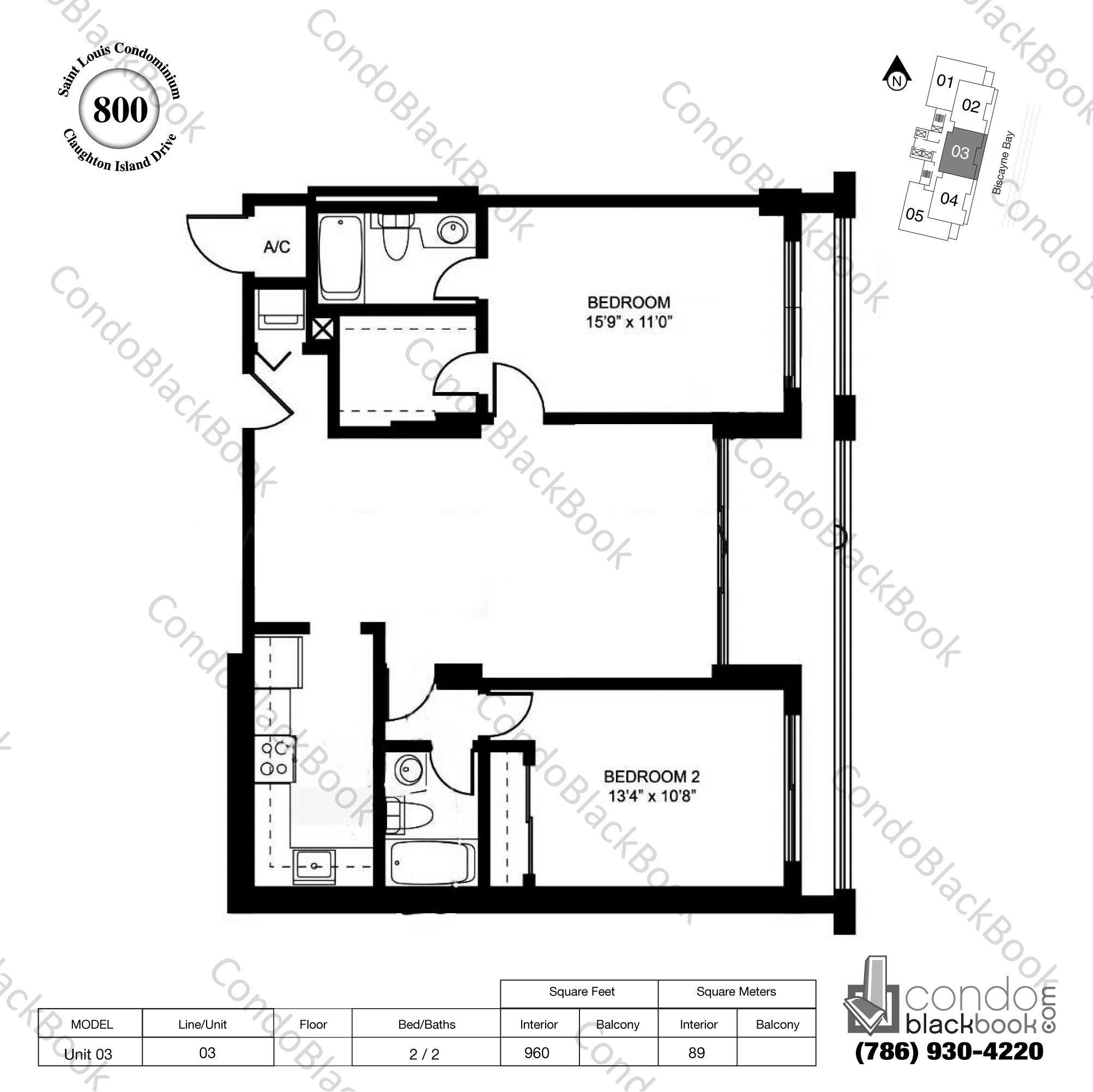 Floor plan for St Louis Condo Brickell Key Miami, model Unit 03, line 03, 2 / 2 bedrooms, 960 sq ft
