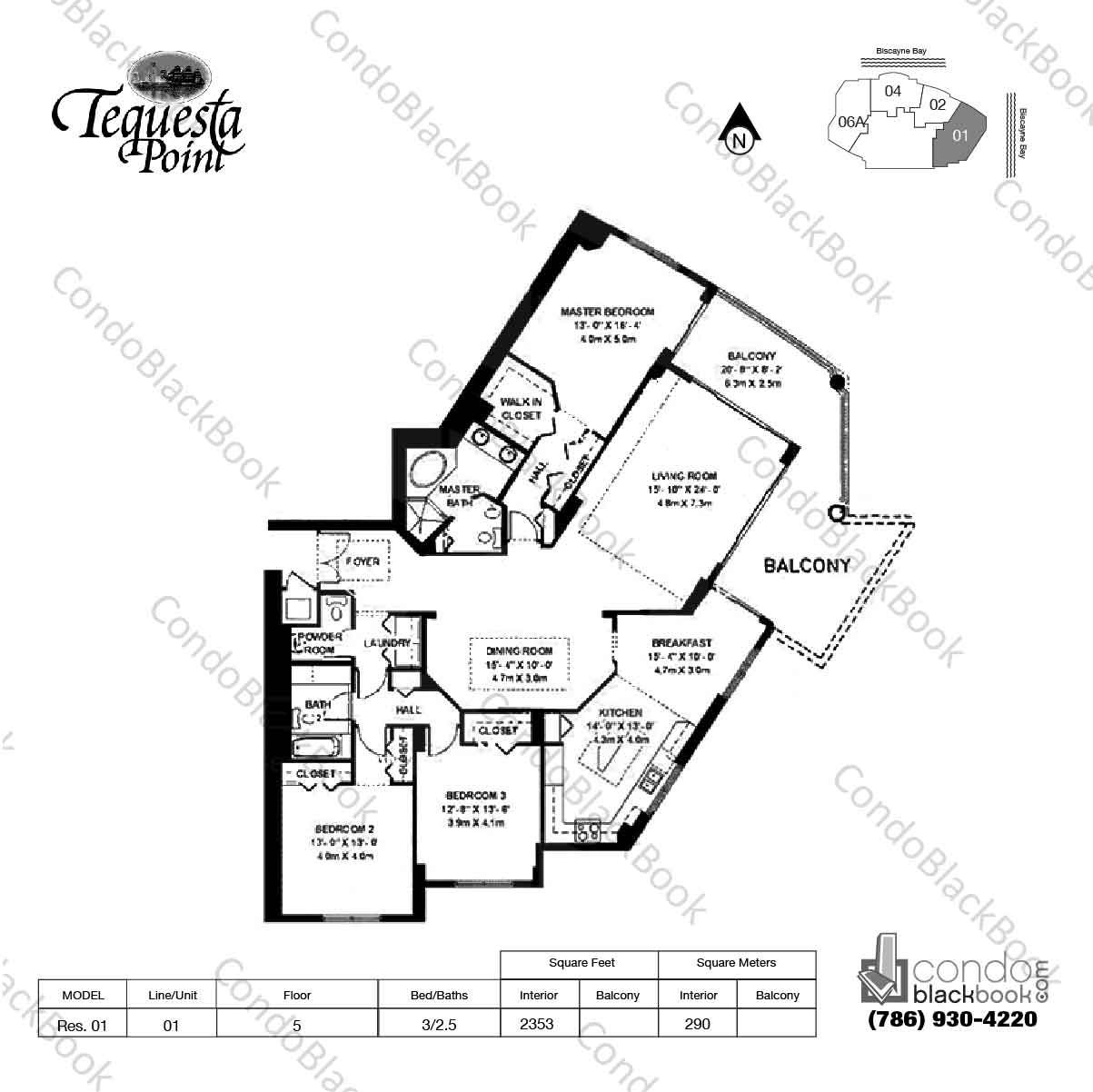 Floor plan for Three Tequesta Point Brickell Key Miami, model Res. 01, line 01, 3 / 2.5 bedrooms, 2353 sq ft