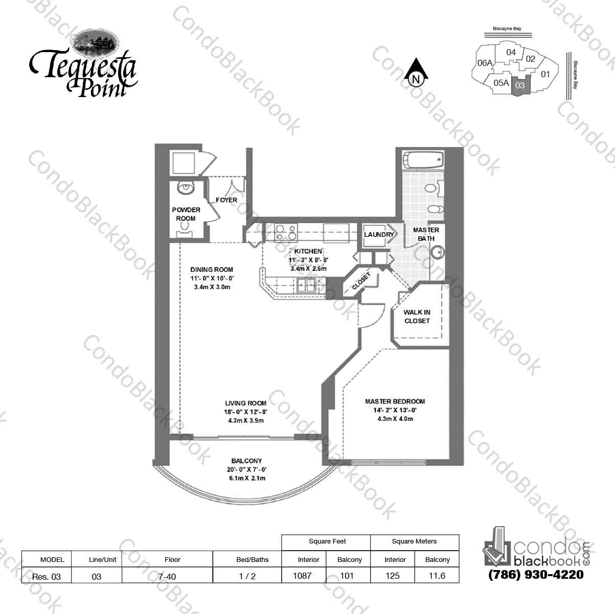 Floor plan for Three Tequesta Point Brickell Key Miami, model Res. 03, line 03, 1 / 2 bedrooms, 1087 sq ft