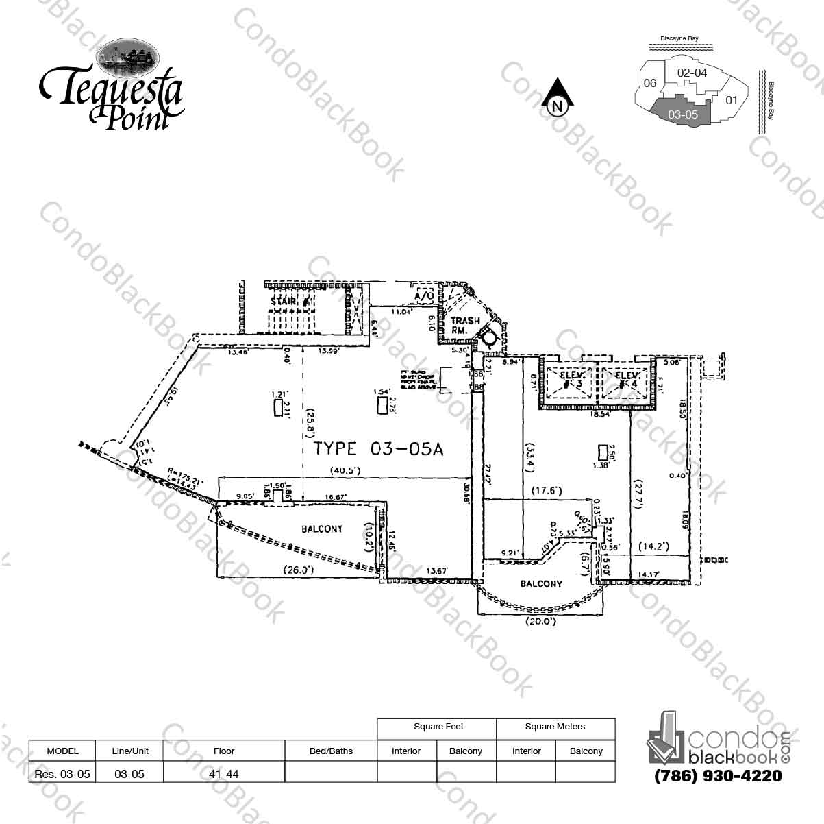 Floor plan for Three Tequesta Point Brickell Key Miami, model Res. 03-05, line 03-05