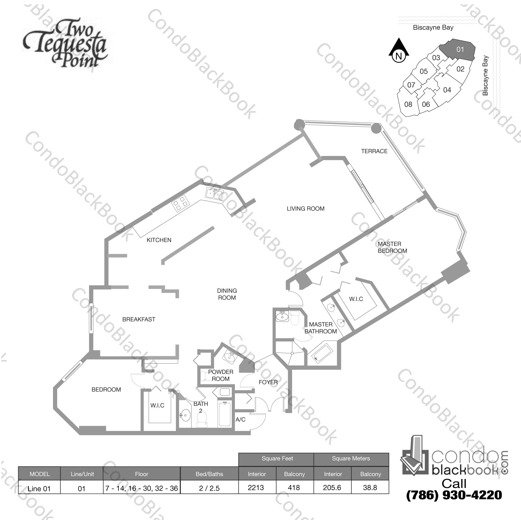 Floor plan for Two Tequesta Point Brickell Key Miami, model Line 01, line 01, 2 / 2.5 bedrooms, 2213 sq ft
