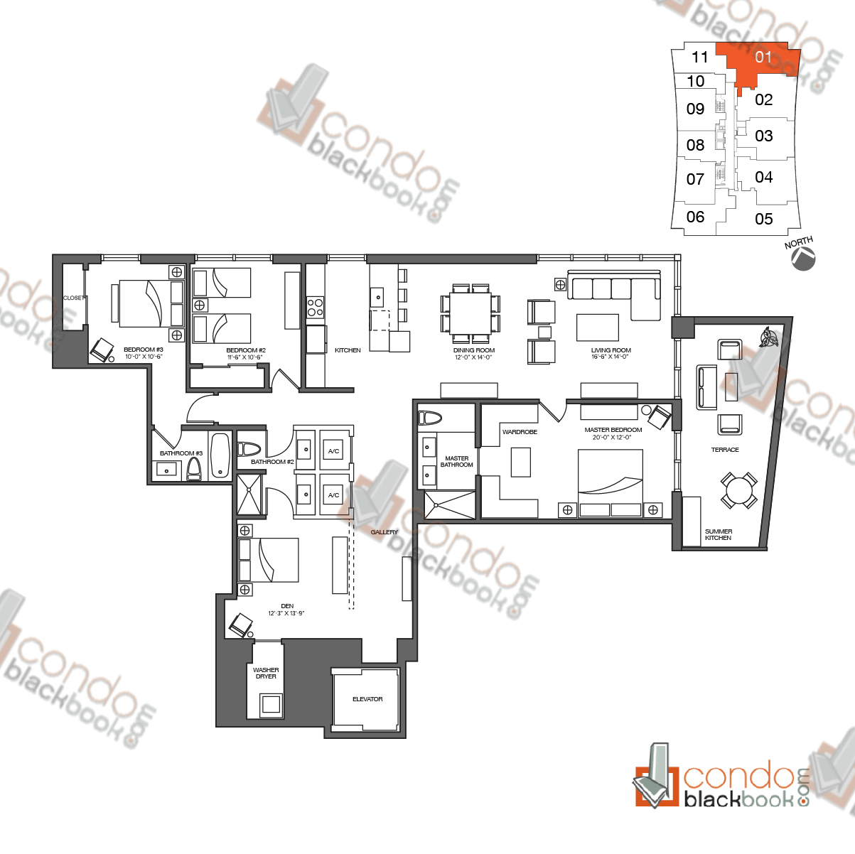 Floor plan for 1010 Brickell Brickell Miami, model A, line 01, 3/3 + Den bedrooms, 2,148 sq ft