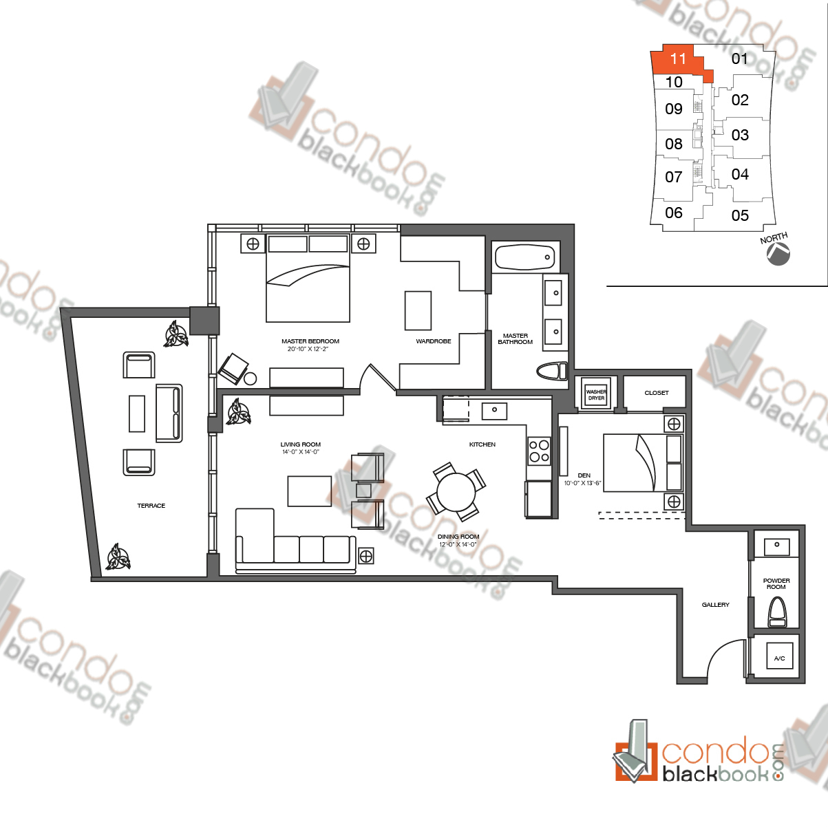 Floor plan for 1010 Brickell Brickell Miami, model B, line 11, 1/1.5 + den bedrooms, 1,260 sq ft
