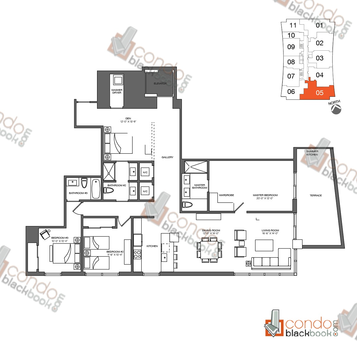 Floor plan for 1010 Brickell Brickell Miami, model C, line 05, 3/3 + Den bedrooms, 2,181 sq ft