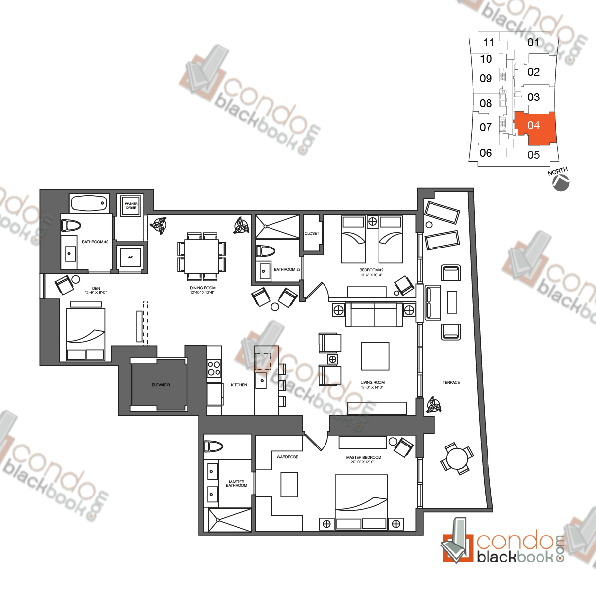 Floor plan for 1010 Brickell Brickell Miami, model D, line 04, 2/3 + Den bedrooms, 1,778 sq ft