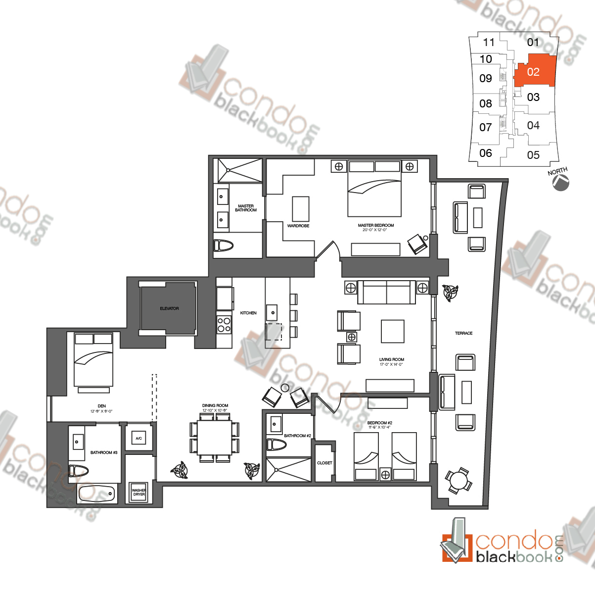 Floor plan for 1010 Brickell Brickell Miami, model Dr, line 02, 2/3 + Den bedrooms, 1,778 sq ft