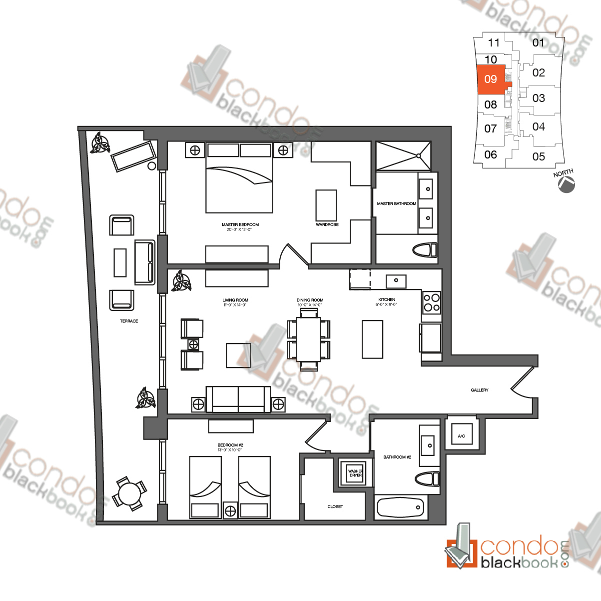 Floor plan for 1010 Brickell Brickell Miami, model F, line 09, 2/2 bedrooms, 1,404 sq ft